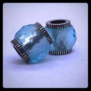 Light blue spacer charms